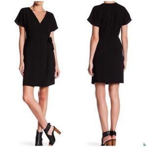 Bobeau Short Sleeve Black Wrap Dress, Medium